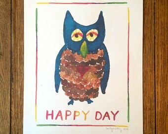 Watercolor Print and Lettering -- Happy Owl Illustration