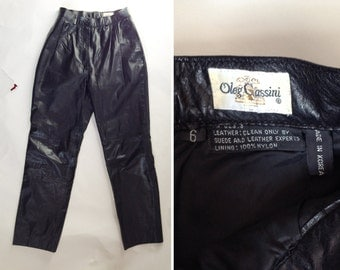 "Vintage ""Oleg Cassini"" Black Leather Women's Pants - Size 6"