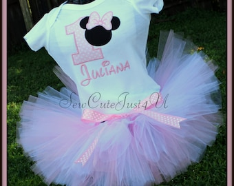 Minnie Mouse Birthday Number Shirt and Tutu Set- Light Pink and White Polka Dot