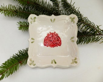 Red Ladybug Spoon Rest, Ring Holder, Ceramic Tapas Plate