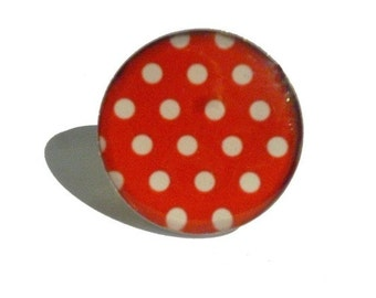 Polka dots ring, red and white polka dots ring, cute ring, polka dot, polka dots jewelry, spring jewelry, adjustable ring