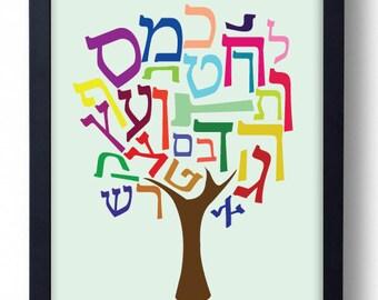 Hebrew Alphabet Tree Poster