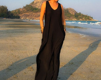 Black Sleeveless long maxi dress all size