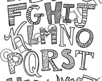 "Digital Download ""Uppercase Letters"" Coloring Page"