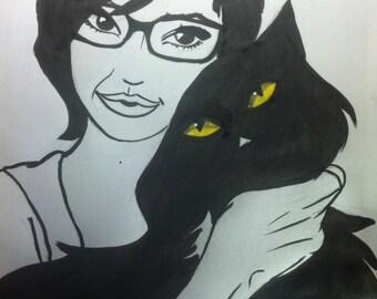 self-portrait with black cat