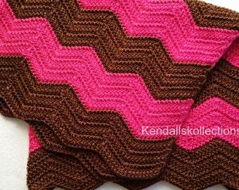 24x30 Pink and Brown Chevron Crochet Baby Blanket