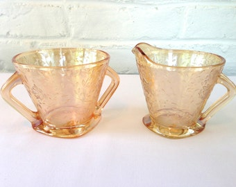 Jeannette Glass Company Floragold Creamer and Sugar