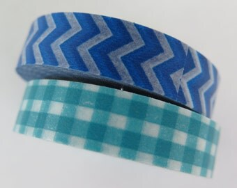 Blue Chevron and Turquoise Gingham Washi Tape, 2 Rolls, Craft Tape, Scrapbooking and Diy Crafts, 10mm, Hazals Bazaar