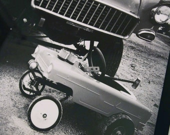 12x12 inch framed Instagram print of '55 Chevy Gasser hot rod, and similar kid's pedal car.