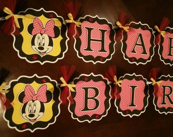 Minnie Mouse Party Decorations Red/White Polka Dots/Black/Yellow,  Minnie Mouse Banner, Personalized Minnie Mouse Banner Red/Black/Yellow