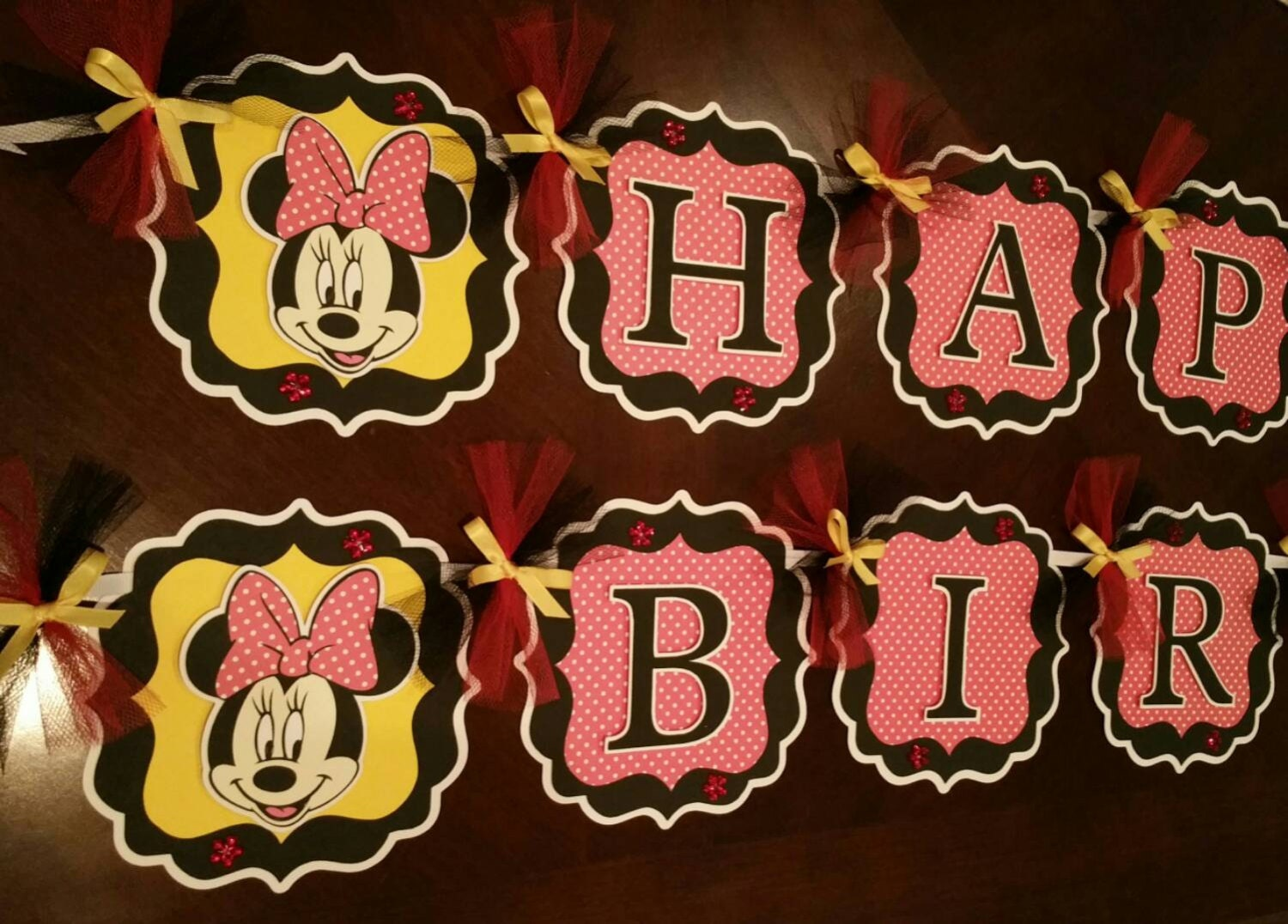 Pink And Black Minnie Mouse Decorations Red And Black Banner Etsy