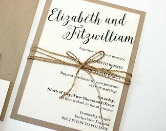 Custom Simple Rustic and Modern Kraft and Twine Wedding Invitation