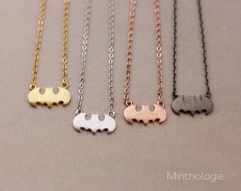 Batman Bracelet RN110 • Dainty Bracelet, Bat Signal, Bat Symbol, Layering Bracelet, Superhero Bracelet, Halloween Bracelet, Gold Bracelet