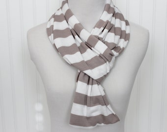 Stripe Infinity Scarf - Taupe and White Scarf - Tan Stripe Jersey Knit Circle Scarf - Eternity Scarf - Summer Scarf