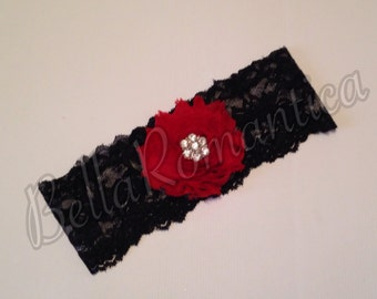 Red and Black Garter - Wedding Garter - Red and Black Wedding Garter Set - Bridal Garter