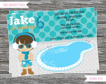 DIY - Boy Winter Pool Birthday Party Invitation 2 # 441 - Coordinating Items Available