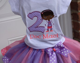Doc Mcstuffin Birthday Shirt  with ribbon tutu and matching bow/Doc McStuffin
