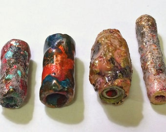 Mixed Lot of Four Mixed Media Loose Faux Raku Paper Focal Beads Barrel Upcycled Boho Chic Repurposed First Anniversary Boho Beading Supplies