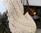 Chunky Blanket, 32x48, Pure Merino Wool, knit blanket, throw, hand knit, wool blanket, fall trending