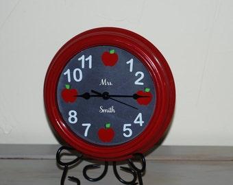 Chalkboard and Apple Teacher's Clock