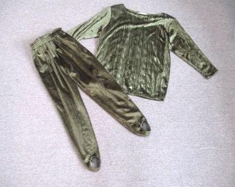 Vintage KC Cooper Fuzzy Velour Green stirrup pant outfit size XS