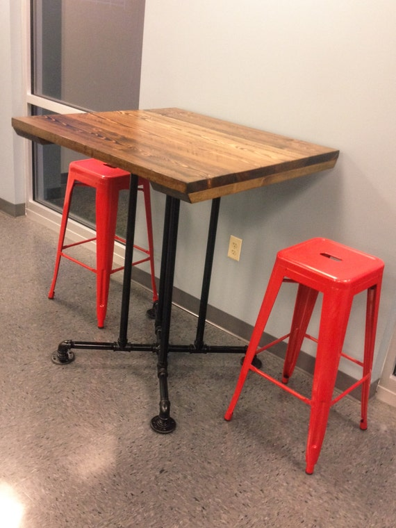 Square bar height industrial style table farmhouse for Square industrial dining table