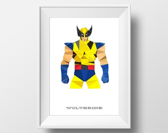 Digital Download Wolverine Geometric Abstract Superhero Poster Print Art - Boys Room - 8x10, 11x14 Iron Man Superhero Print