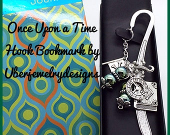 Once Upon a Time Hook Inspired Bookmark with Free Journal Diary by Uberjewelrydesigns
