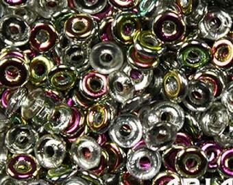 CRYSTAL VITRAIL: O Bead Czech Glass Sequin Ring Bead, Reversible 2x4mm (5 grams)