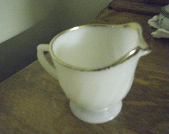 FIRE KING  milk glass creamers White with gold trim swirl pattern
