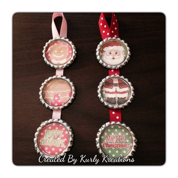 items similar to holiday bottle cap ornaments on etsy