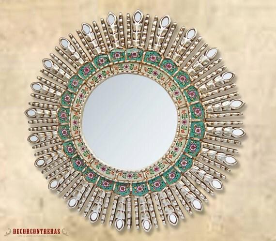 Silver Round Decorative Wall Mirror 39 Silver Sunbeams