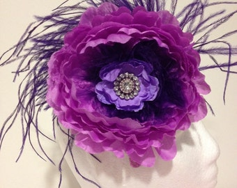 Purple Lavender Flower Feather Fascinator Headband. Feather Flower Headband Fascinator.Fancy Girl Headband Custom Fascinators.