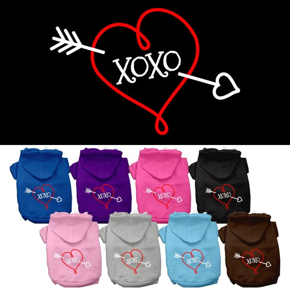 XOXO with Heart and Arrow Hoodie, Sweatshirt, Jacket for Boy or Girl Dog or Cat, Great for Valentine's Day