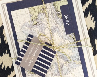 Cape Cod Wedding Invitation, Nautical Map Wedding Invitation, Striped Wedding Invitation