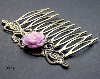 Bronze metal comb purple flower