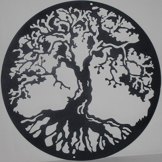 flat black tree of life metal wall art home decor. Black Bedroom Furniture Sets. Home Design Ideas