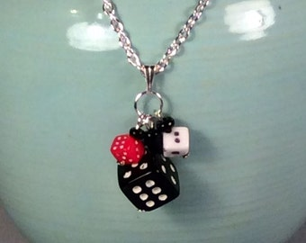 Dice Necklace (black red white) bunco bunko