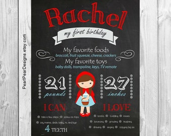 Little Red Riding Hood Chalkboard elephant First Birthday Chalkboard Stats Printable prop/decor One Year Girl - Monthly/ First year cupcake