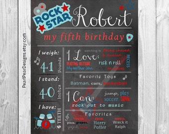 Rock Star Chalkboard Poster: Year Girl / Boy First Birthday Chalkboard Stat digital file prop/decor rockstar birthday party