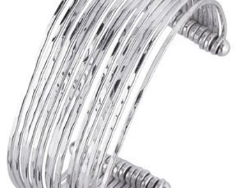 Designer .925 Sterling Silver 15-Wire Hammered Cuff Bracelet by BrianG
