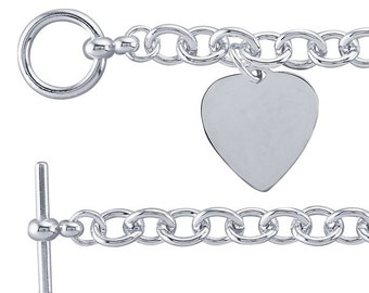 Sterling Silver 8.2mm Cable Chain Bracelet with Heart Plaque Charm ~ Free Shipping