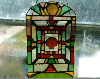 STAINED GLASS SUNCATCHER With Shell Shabby Chic