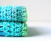 Blue and green crochet dishcloths.  Crochet washcloths.  Kitchen accessories. Eco friendly.  Housewares.  Set of 2