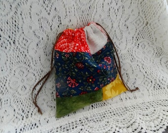 lovely handmade country style patchwork drawstring bag/pouch