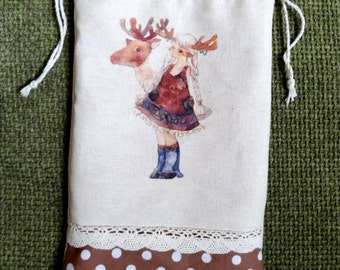 Handmade Christmas drawstring bag/pouch----ideal Christmas gift!