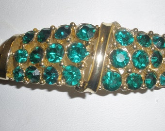 "Vintage Signed ""CORO"" Bracelet / Multi Brilliant Green Rhinestones / Gold Finish Setting"