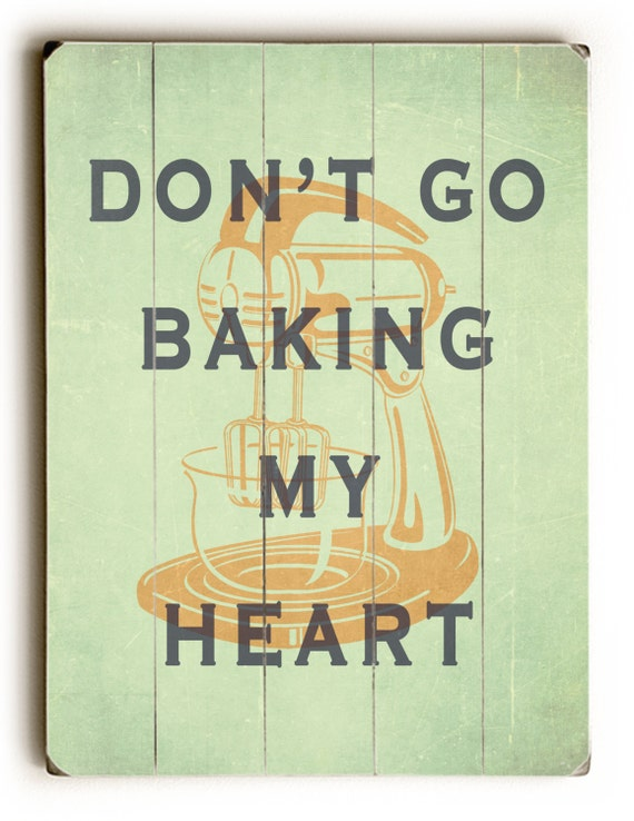 Wood Wall Decor For Kitchen : Wooden wall decor baking print kitchen inspirational