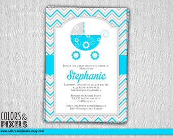Baby Shower Invitation, Baby Carriage Printable Invitation, Chevron Baby Shower Theme, Baby Stroller Invite