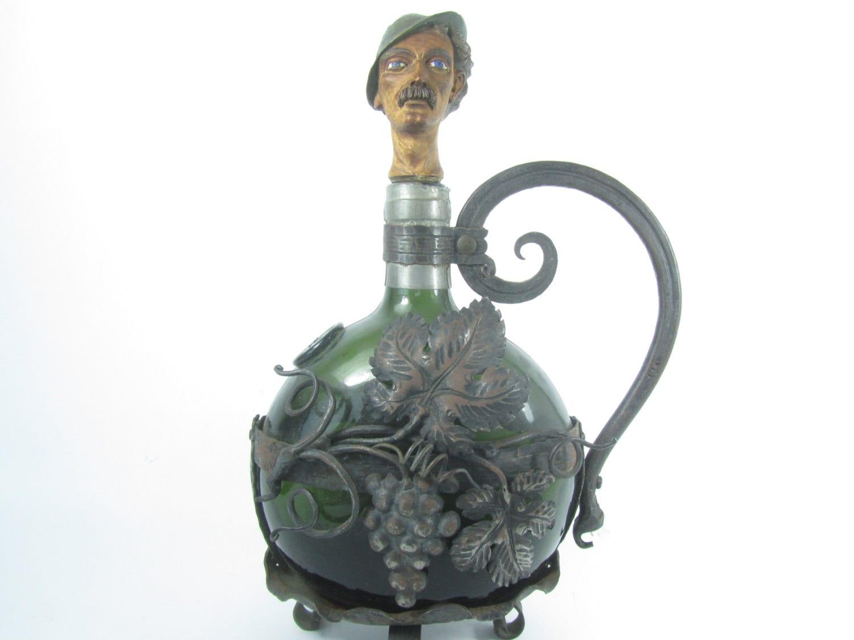 Antique Wrought Iron Wine Bottle Holder And Bottle Bottle
